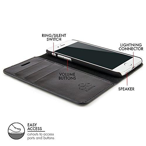 QUADOCTA custodia in pelle cover per case No. 5 per iPhone Apple 6 6s 4,7 pollici Tabacco in vera pelle. Sottile custodia in pelle, elegante accessorio per l'iPhone 6 6s (4,7) Apple originale Liber Case – Nero