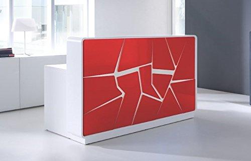 empfangstheke friseur Empfangstheke ARCTIC SUMMER weiß-rot absoluter Eye-Catcher Empfangstresen Rezeption Bürotheke