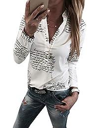 0ddda1a68c9f Yieune Damen Bluse Langarm V-Ausschnitt Elegant Blumen Hemd Casual Oberteile  Tops