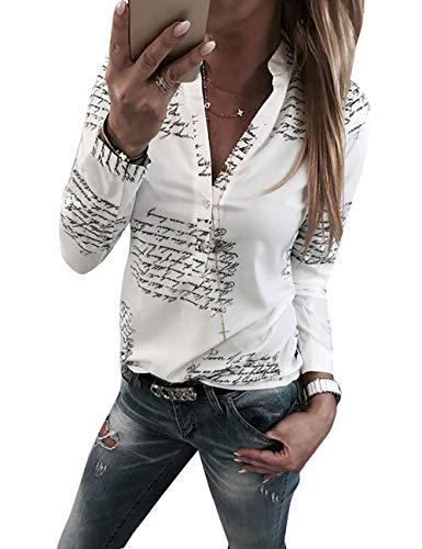 Yieune Damen Bluse Langarm V-Ausschnitt Elegant Blumen Hemd Casual Oberteile Tops (Weiß S)