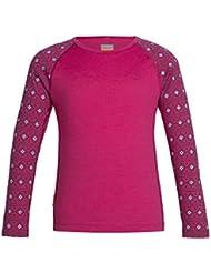 Icebreaker Oasis–Camiseta interior térmica niño, color Pop Pink/Snow/Pop Pink, tamaño 12 años