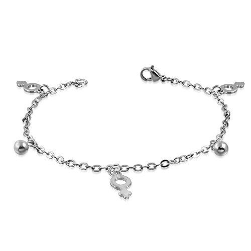 Bungsa-Bracelet-Frauensymbol-Bettelarmband-Edelstahl-silber-LGBT-Lesbian-Pride-Karabinerverschluss-Bettelkette-Armband-Damenarmband-Fusskette-Anklet-Chirurgenstahl-Schmuck-Edelstahlarmband