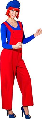 Fasching Damen Latzhose blau oder rot (rot, 36/38)