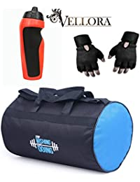 VELLORA Polyester Long Lasting Material, Duffel Gym Bag Blue With Penguin Sport Sipper, Gym Sipper Water Bottle... - B07F2JSLZQ