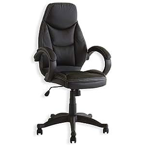 Fauteuil chaise de bureau avec accoudoirs MARVIN, hauteur réglable roulettes cuir synthétique noir