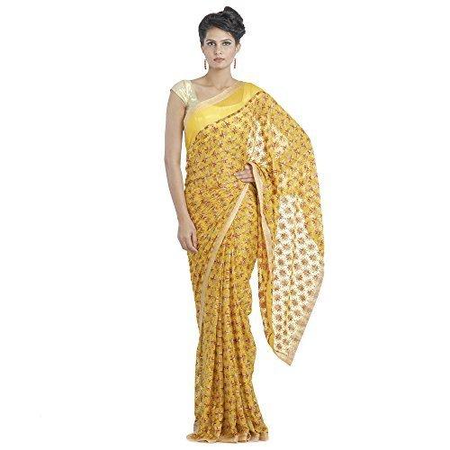 Ethnic Bliss Lifestyles Women's Chiffon Saree (Eblphksr-Y-Mc-A5_Yellow)