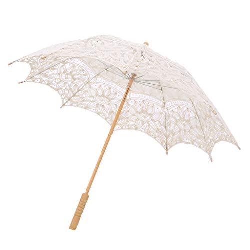 Regen Tanz Kostüm - Hellery Hochzeit Lace Parasol Umbrella Viktorianischen Lady Kostüm Bridal Decor Foto Prop - Beige, M