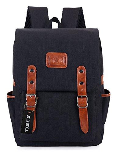 Tibes Zaino Della Scuola Zaino Ragazza Zaino Donna Backpack Schoolbag Nero