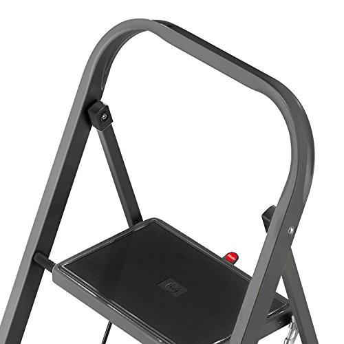 Hailo K20, Stahl-Klapptritt, 3 Stufen, Sicherheitsbügel, Klappsicherung, einfach zu verstauen, belastbar bis 150 kg, 4397-971