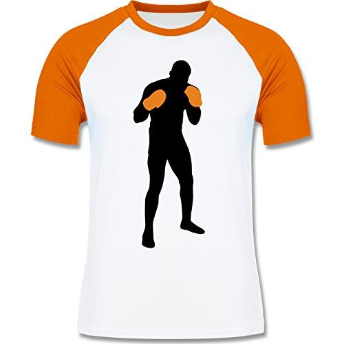 Kampfsport - Boxer Grundstellung - zweifarbiges Baseballshirt für Männer Weiß/Orange