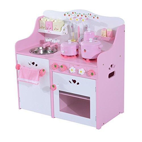 Homcom® Kinderküche Spielküche Spielzeugküche Kinderspielküche Spielzeug mit/ohne Zubehör/Fenster (Modell3/ rosa)