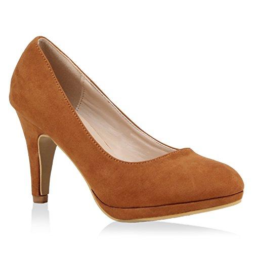 Stiefelparadies Klassische Damen Pumps High Heels Veloursoptik Schuhe 105173 Hellbraun 38 Flandell