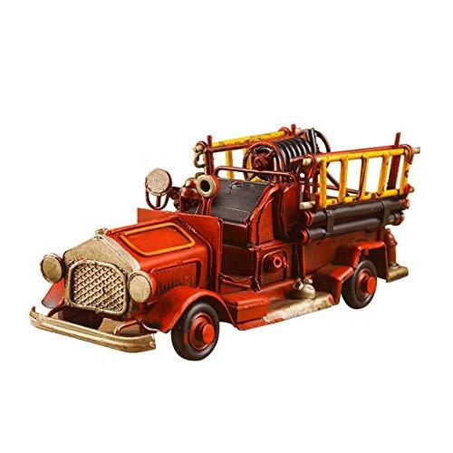 SSBH Retro Eisenblech Classic Cars Modell, manuelle Feuerwehrauto Handwerk, Home Decoration Collection, Bar Restaurant Dekoration, Foto Requisiten/Weihnachten/Geburtstagsgeschenk (rot)