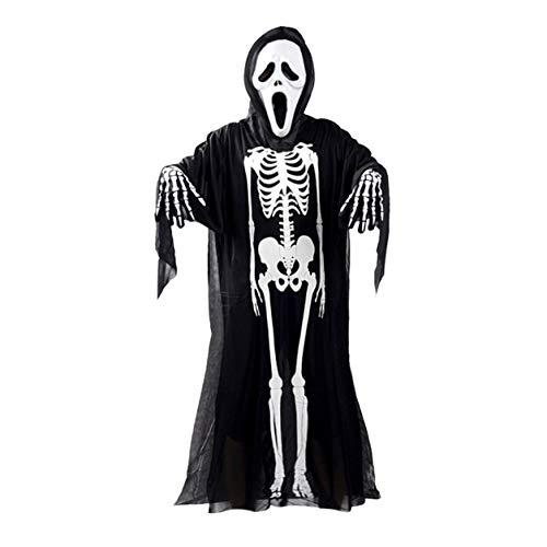 Dailyinshop Schädel-Skeleton Geist Kostüm Halloween-Abendkleid + Teufel Maske + Handschuhe