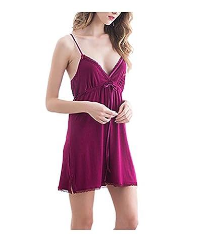 DYLH Femme Chemises de nuit Nuisette V-cou Dentelle Robe Vêtements de nuit Bretelles Réglable Lingerie Pyjamas Bordeaux L