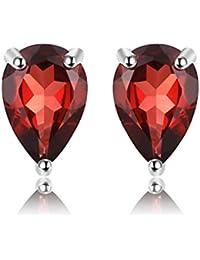 JewelryPalace Birne 1.8ct natürliche rote Granat Birthstone Bolzen Ohrringe 925 Sterling Silber