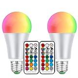 E27 Bombillas LED 10W de color RGBW, cambian de color, rosca Edison, intensidad regulable, con mando a distancia, perfecto para el hogar, bar, fiesta, decoración, luz ambiental (2 unidades)