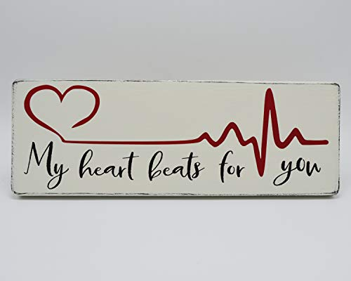 Tamengi My Heart Beats for You Love Holzschild, Herzschlag EKG Puls Schild, rustikales Holzschild, Fixer Oberstil Bauernhaus Dekor