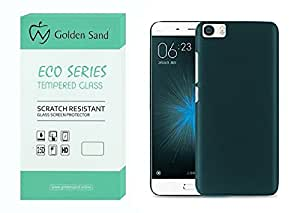 Golden Sand™ Combo of Eco Series Tempered Glass and Ultra Thin Series Rugged Hard Back Case Cover (Velvet Feel) for Xiaomi Mi5 (Green)