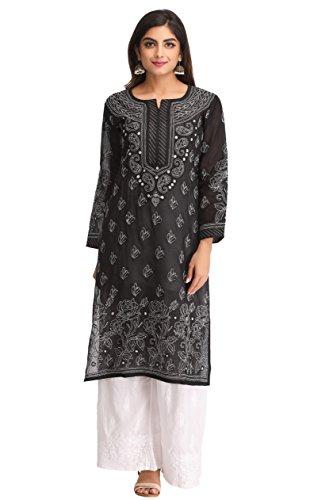 ADA Lucknow Chikan Hand Embroidered Womens Cotton Kurta Kurti (A237205_ Black)
