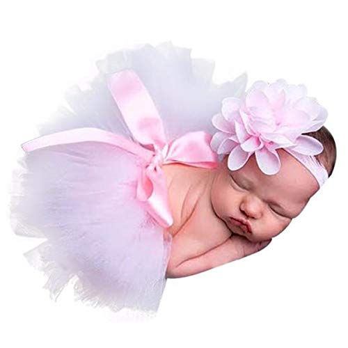 (Huihong Neugeborenes Baby Mädchen Foto Fotografie Requisiten Outfits Set Tutu Rock + Blume Stirnband Party Kostüm)