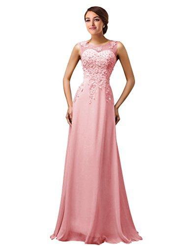 MicBridal®robe de soirée longue cocktail mariée robe de bal longue princesse col V Coeur tulle dentelle à fleur Rose