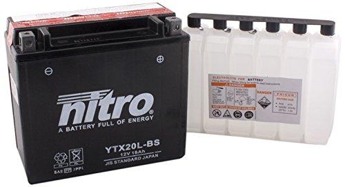 Nitro - Batteria da moto con tecnologia AGM, aperta, acido all'interno, modello: YTX20L-BS