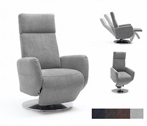 Cavadore TV-Sessel Cobra mit 2 E-Motoren und Aufstehhilfe / Elektrisch verstellbarer Fernsehsessel mit Fernbedienung / Relaxfunktion, Liegefunktion / Ergonomie S / Belastbar bis 130 kg / 71 x 108 x 82 / Hellgrau