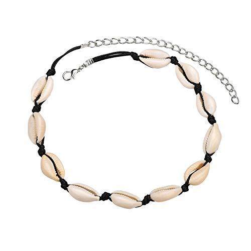 LILIGOD Böhmische Retro Halskette Armband Set Natürliche Süßwasser Shell Halskette Leder Seil Halskette Damen Schmuck Mode Wild Halskette Armband Necklace (Jagd-kostüme Für Paare)