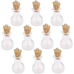 10pcs Frascos Botellas Corcho Cristal Viales Botellas De Deseos Colgante Bricolaje Forma De Bulbo Plana