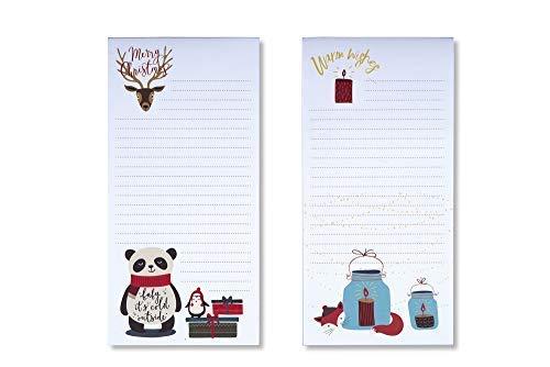 Tri-coastal design - Set di 2 Shopping List Block Notes Natalizi - Block Taccuini con Decorazioni di Natale Rosse con Alberi con Magnete