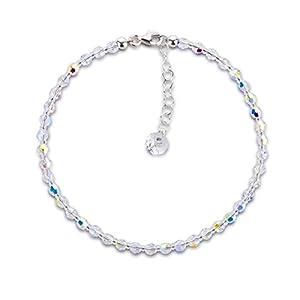 Schöner-SD, Fußkette aus funkelnden Kristallperlen von Swarovski® in der Farbe Crystal Aurora Boreale