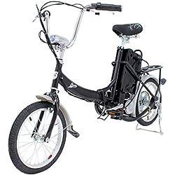 Riscko Bicicleta Eléctrica Plegable 250W de Potencia 25 km/h luz Delantera Acero Lacado con Ruedas de 18 Pulgadas (Negro)