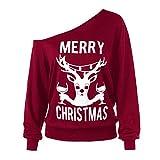 MYMYG Frohe Weihnachten Pullover Print Urlaub Sweatshirts Herbst Winter Skew Neck Tops Damen Langarm Lässige Party Cosplay Tees Bluse (Wein,EU:40/CN-XL)