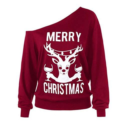 TWIFER Langärmelige Damen Schulterfrei Frohe Weihnachten Print Urlaub Sweatshirts