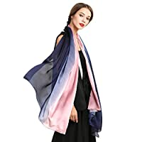 Silk Scarf for Women. Gradient Colors Chiffon Scarves Wrap - Mother's Day Gift (Pink &Blue)