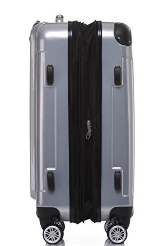 BEIBYE Hartschalen Koffer Trolley Rollkoffer Reisekoffer 4 Zwillingsrollen Polycabonat (Silber, Handgepäck 55cm-40L) - 2