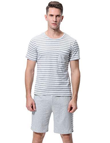 iClosam Herren Baumwolle Kurzarm Pyjamas Set, Zweiteiliger Schlafanzug mit Tasche (Grau1, L) - Baumwolle Gewebte Pyjama-set
