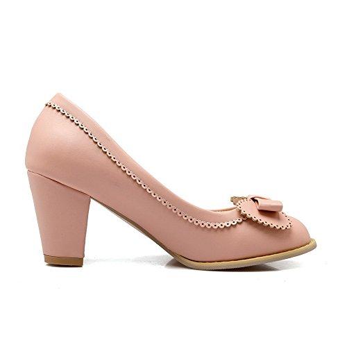 AllhqFashion Femme Rond Tire à Talon Haut Pu Cuir Couleur Unie Chaussures Légeres Rose