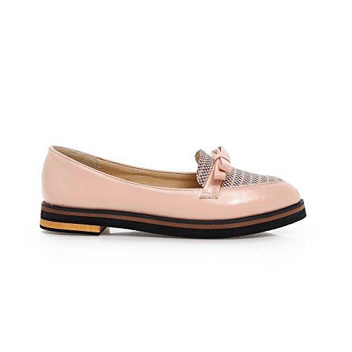 AllhqFashion Damen Ziehen Auf Niedriger Absatz Blend-Materialien Spitz Zehe Pumps Schuhe Pink