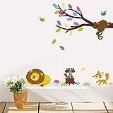 HHZDH Wandaufkleber Wald Löwe AFFE Waschbär Vögel Baum Wandaufkleber Kinder Baby Schlafzimmer Dekorationen DIY Wandkunst Tiere Startseite Abziehbilder Geschenk Weihnachten