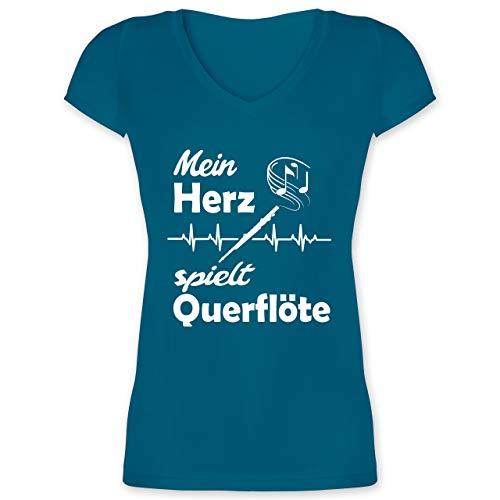 Instrumente - Mein Herz spielt Querflöte Herzschlag - M - Türkis - XO1525 - Damen T-Shirt mit V-Ausschnitt