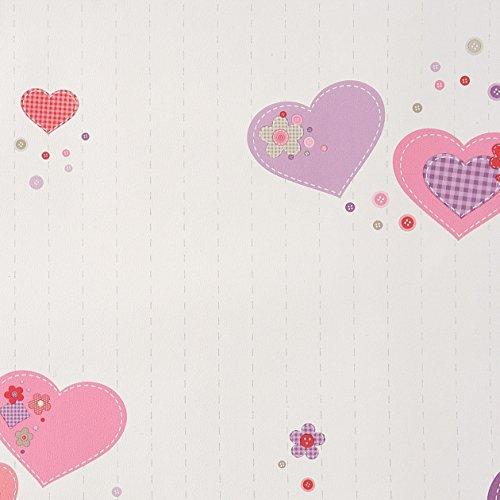 caselio-girl-only-61955280-carta-da-parati-con-motivo-patchwork-su-fondo-bianco-e-cuori-nei-toni-del