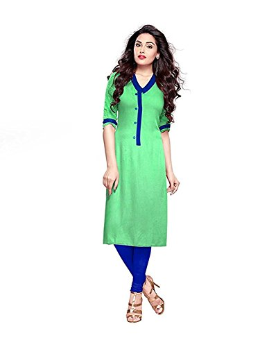 Clothfab Women's Cotton Plain Casual Kurti Top XL Size Green Colour  available at amazon for Rs.150