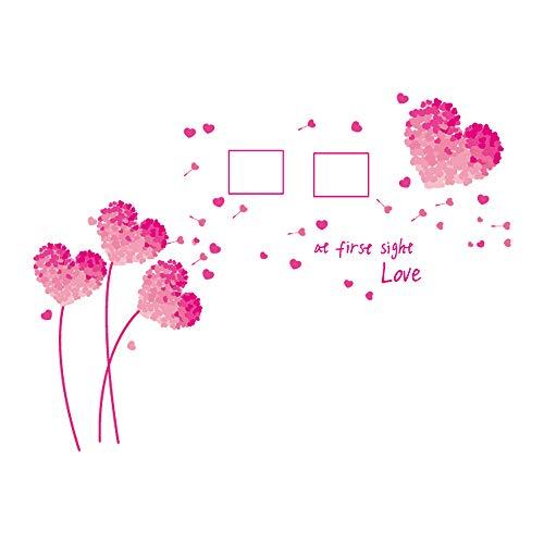 DecalMile Romantische Rosa Herzform Blumen Foto Rahmen Wand Aufkleber Home Decor Wohnzimmer Schlafzimmer Wand Dekoration - Blume Home Decor