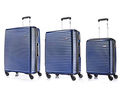 Verage S-PET Hartschale-Trolley Handgepäck erweiterbarer Reisekoffer Vortex in Blau S-19+M-24+L-28, mit TSA Schloss, 4x360°-Zwillingsrollen