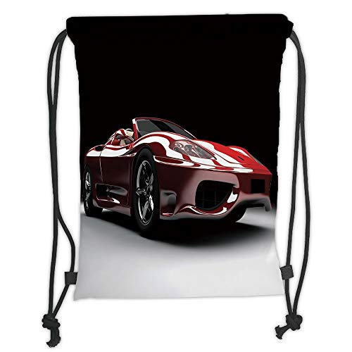 OQUYCZ Drawstring Sack Backpacks Bags,Cars,Automotive Industry Theme Powerful Engine Fast Technology Prestige Performance Decorative,Red Black White Soft Satin,5 Liter Capacity,Adjustable STRI