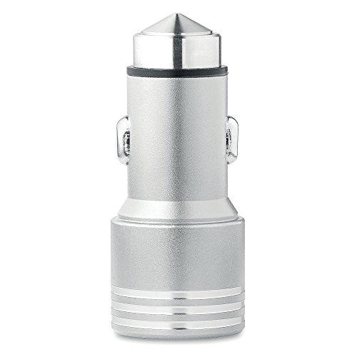 KFZ-Ladegerät mit Notfall-Hammer aus Aluminium , silber