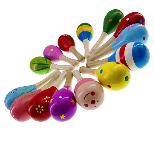 Mulove 10 Stück Holz Maracas Percussion Rassel Shaker Sand Hammer Musikinstrument Lernspielzeug für Kinder, zufällige Musterfarbe