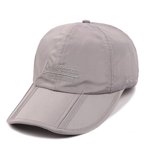 kimtime Folding Baseball Cap Outdoor Sports Leicht Sonnenblenden Hüte Ultra Dünn schnelltrocknend tragbar und wasserfest Running Golf Kappen, hellgrau